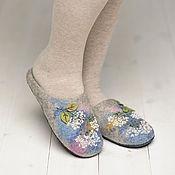 """Обувь ручной работы. Ярмарка Мастеров - ручная работа Валяные тапочки """"Гортензия"""". Handmade."""