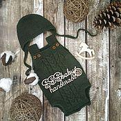 Работы для детей, handmade. Livemaster - original item Knitted bodysuit+cap. Handmade.