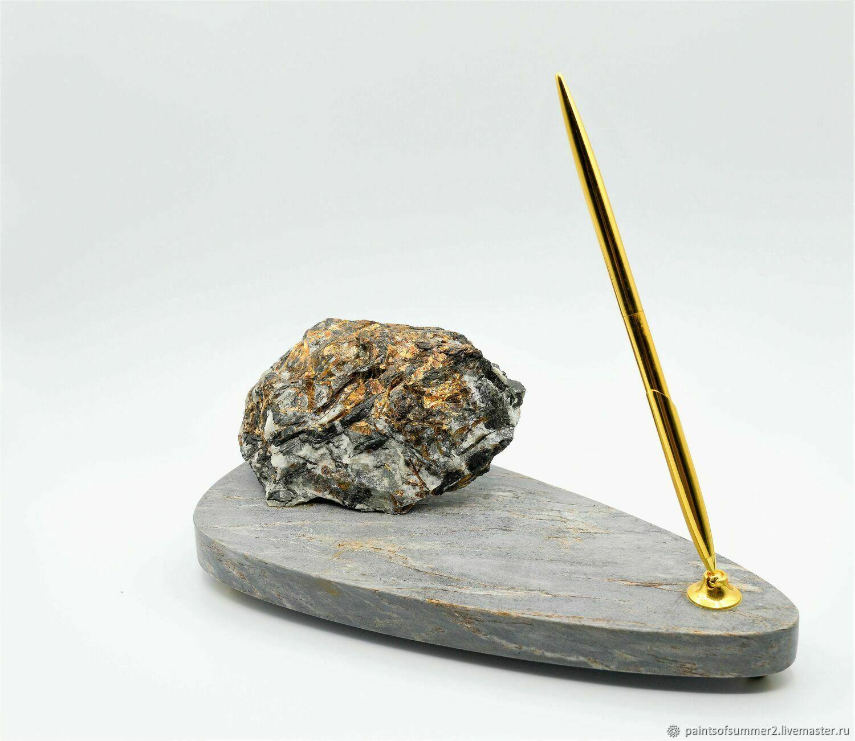 Ручка на подставке с натуральным Астрофиллитом, Прикольные подарки, Москва,  Фото №1