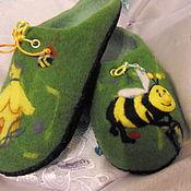 """Обувь ручной работы. Ярмарка Мастеров - ручная работа Тапочки """" Пчелкин маленький народ"""". Handmade."""