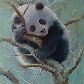 """Картины и панно ручной работы. Ярмарка Мастеров - ручная работа Картина маслом """"Спящий панда"""" ( медведь ). Handmade."""