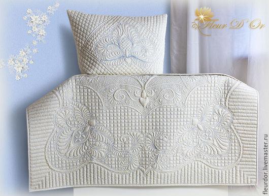 Детское, именное одеялко- квилт  `Белый шоколад`