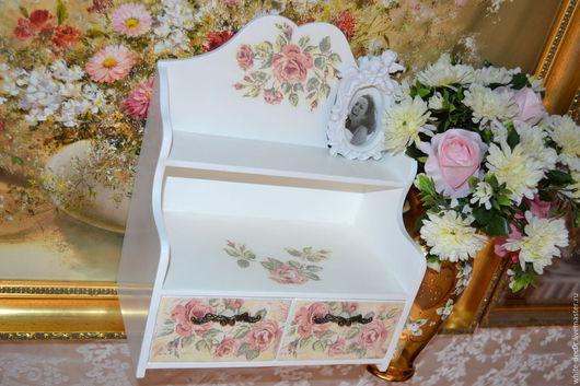 """Мини-комоды ручной работы. Ярмарка Мастеров - ручная работа. Купить мини комод  """"Фресковые розы"""". Handmade. Белый"""