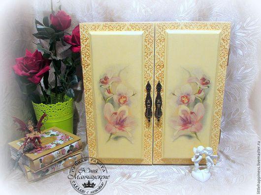"""Мебель ручной работы. Ярмарка Мастеров - ручная работа. Купить Шкаф """"Орхидея"""". Handmade. Желтый, Трафаретная роспись, мебель из массива"""