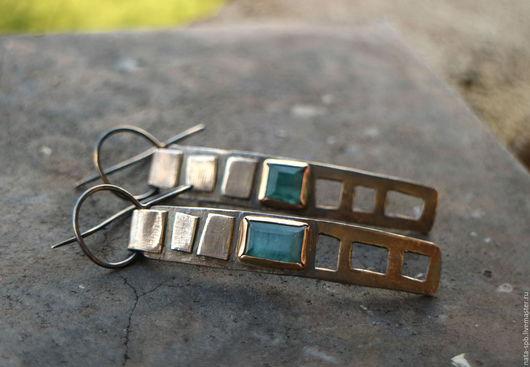 Серьги ручной работы. Ярмарка Мастеров - ручная работа. Купить IN MY TOWN  серьги # 2 (турмалины, серебро, золото). Handmade.
