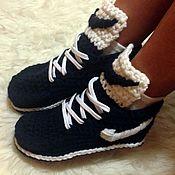 Обувь ручной работы. Ярмарка Мастеров - ручная работа Вязаные на заказ крючком кеды из пряжи по вашему выбору. Handmade.