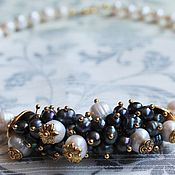 Украшения handmade. Livemaster - original item Pearl necklace of white and black freshwater pearls.. Handmade.