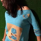 Одежда ручной работы. Ярмарка Мастеров - ручная работа Джемпер Голубые розы. Handmade.
