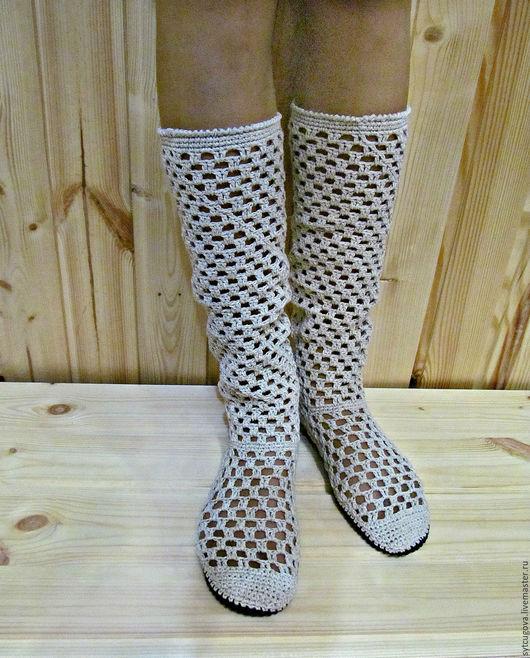 Обувь ручной работы. Ярмарка Мастеров - ручная работа. Купить Вязаные сапожки ... Летние. Handmade. Бежевый, летние сапожки, спандекс