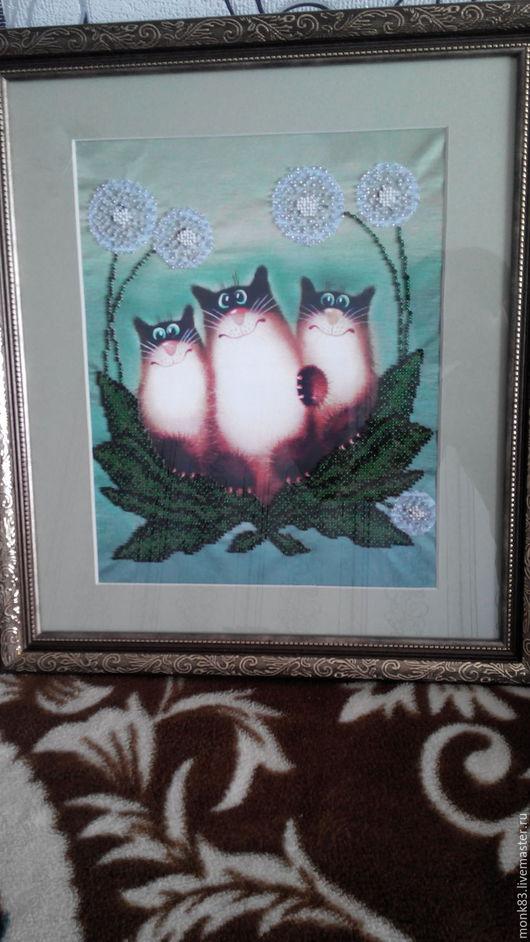 Животные ручной работы. Ярмарка Мастеров - ручная работа. Купить Котовасия. Handmade. Зеленый, картина, цветы, шёлк