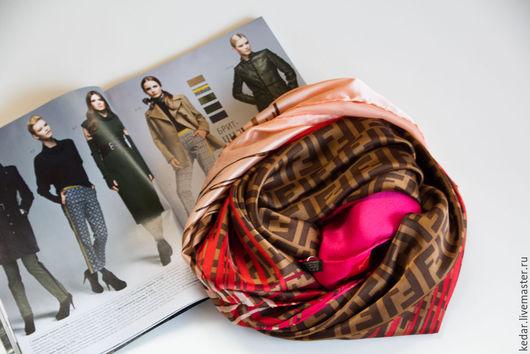 Шали, палантины ручной работы. Ярмарка Мастеров - ручная работа. Купить Натуральный шелковый платок FENDI  розово-красный. Handmade.