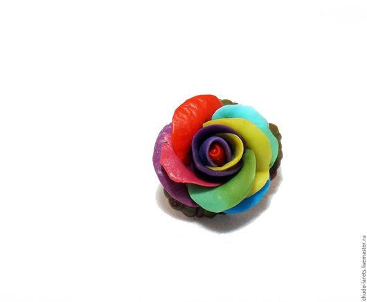 Кольца ручной работы. Ярмарка Мастеров - ручная работа. Купить Радужная роза кольцо. Handmade. Комбинированный, кольцо с розой