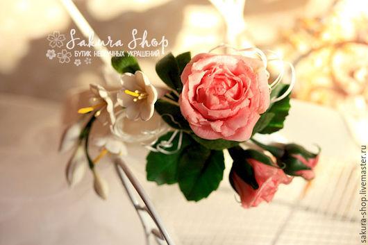 Купить Ободок для волос `Розовый туман` с пионовидной английской розой и веточкой настоящего жасмина. Polymer clay jewelry, polymer clay flowers, clay roses, polymer clay headband, handmade flower.