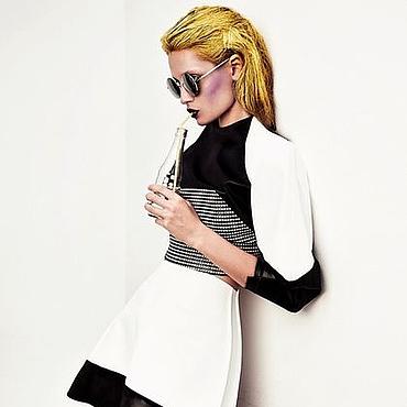 Одежда ручной работы. Ярмарка Мастеров - ручная работа Комплект черно-белый из топа и юбки. Handmade.