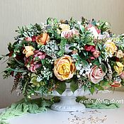 Композиции ручной работы. Ярмарка Мастеров - ручная работа Букет цветов в вазе Злата. Handmade.