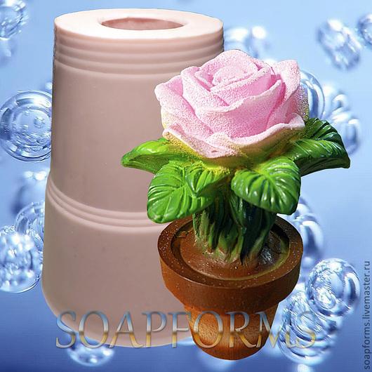 Силиконовая форма для мыла и свечей `Роза в горшочке`  3D