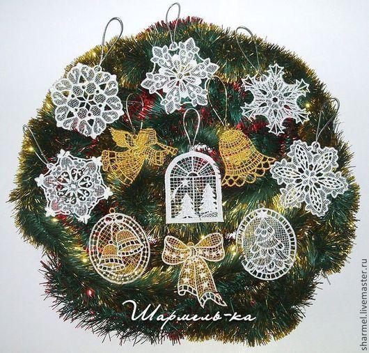 Вышитые  новогодние сувениры украшения-подвески  `Снежинки, ангелы`. Полезные вещицы от Шармель-ки.