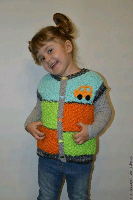 Одежда для мальчиков, ручной работы. Ярмарка Мастеров - ручная работа. Купить Вязаная детская жилетка, безрукавка на пуговицах. Handmade.