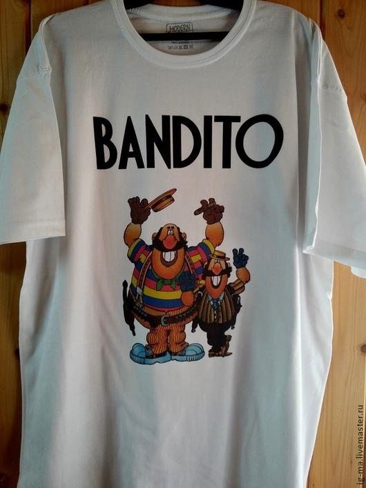 """Футболки, майки ручной работы. Ярмарка Мастеров - ручная работа. Купить Футболка """"Бандито"""". Handmade. Белый, футболка с надписью"""