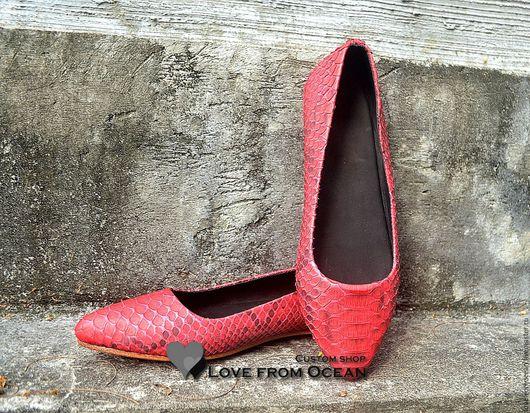 Обувь ручной работы. Ярмарка Мастеров - ручная работа. Купить Балетки (обувь) с острым носиком из натуральной кожи питона. Handmade.