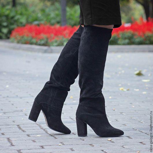 Обувь ручной работы. Ярмарка Мастеров - ручная работа. Купить сапоги зима. Handmade. Бежевый, Замша натуральная