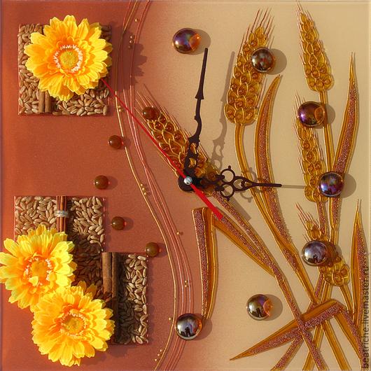 """Часы для дома ручной работы. Ярмарка Мастеров - ручная работа. Купить Часы """"Пшеничные"""". Handmade. Часы, оранжевый"""