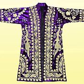 Одежда ручной работы. Ярмарка Мастеров - ручная работа Узбекский вышитый шелком национальный халат, чапан A2077. Handmade.