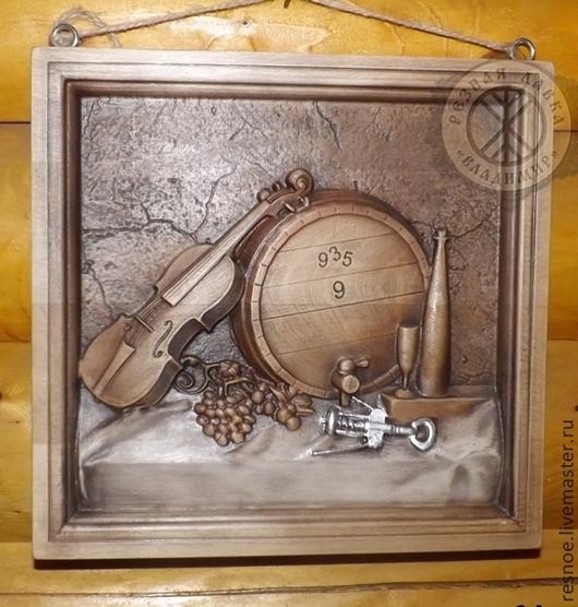 Натюрморт ручной работы. Ярмарка Мастеров - ручная работа. Купить Резное дерево_Вечерняя скрипка. Handmade. Дерево, резьба по дереву, вино