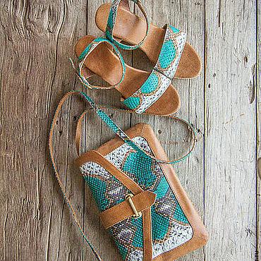 Обувь ручной работы. Ярмарка Мастеров - ручная работа Босоножки из натуральной кожи питона Odri (mono strap). Handmade.