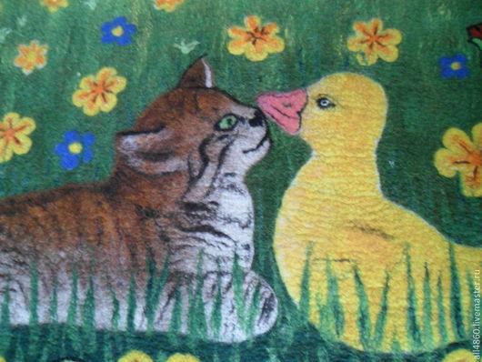 Пледы и одеяла ручной работы. Ярмарка Мастеров - ручная работа. Купить Детский валяный коврик или панно ДРУЗЬЯ. Handmade.