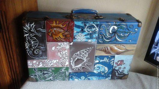 """Чемоданы ручной работы. Ярмарка Мастеров - ручная работа. Купить Старый чемодан """"Хочу на море"""". Handmade. Комбинированный, лак"""