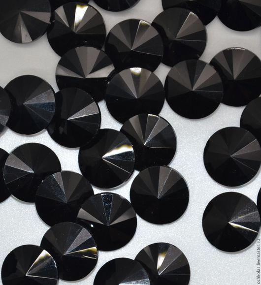 Для украшений ручной работы. Ярмарка Мастеров - ручная работа. Купить Риволи 14 мм черный. Handmade. Черный, кабошон