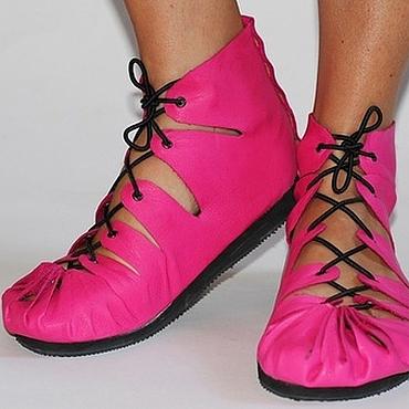 Обувь ручной работы. Ярмарка Мастеров - ручная работа Мокасины из натуральной кожи Фуксия. Handmade.