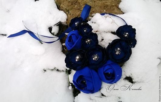 Колье, бусы ручной работы. Ярмарка Мастеров - ручная работа. Купить Цветочное ожерелье ультрамарин Королевское синее колье цветочное. Handmade.