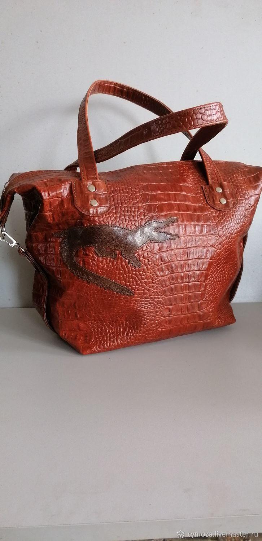 Bag leather women's bag bag.Crocodile whiskey, Classic Bag, Krasnodar,  Фото №1
