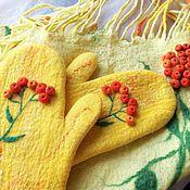 Аксессуары handmade. Livemaster - original item Felted scarf and mittens - set