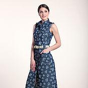 Одежда ручной работы. Ярмарка Мастеров - ручная работа 281: Летнее платье-халат из джинсы, длинное платье халат на лето. Handmade.