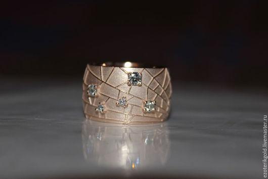 """Кольца ручной работы. Ярмарка Мастеров - ручная работа. Купить Кольцо """"Паутинка"""" с бриллиантами. Handmade. Золотой, золотое кольцо, бриллианты"""