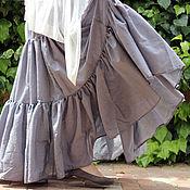 Одежда ручной работы. Ярмарка Мастеров - ручная работа Длинная летняя воздушная  юбка светло серая. Handmade.