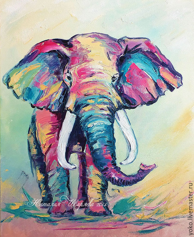 Elephant painting 'once there Lived a Pink Elephant', Pictures, Voronezh,  Фото №1