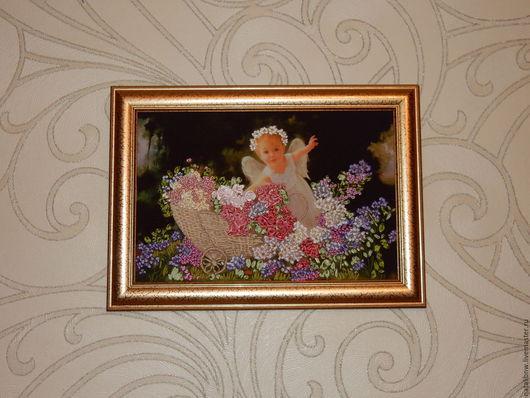 Картины цветов ручной работы. Ярмарка Мастеров - ручная работа. Купить Картина Ангел с коляской. Handmade. Вышивка лентами