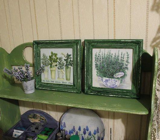 """Картины цветов ручной работы. Ярмарка Мастеров - ручная работа. Купить Панно (вешалка) декупаж """"Прованские травы"""" на кухню. Handmade."""