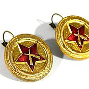 Украшения handmade. Livemaster - original item Military style earrings with symbols of the USSR