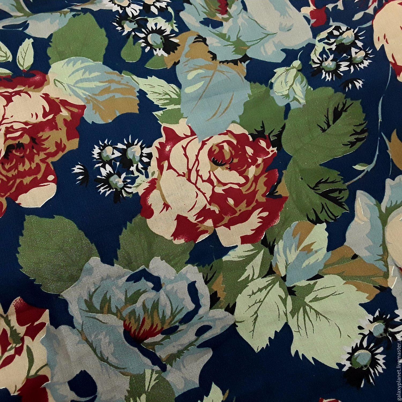Поплин темно-синий с крупными бордовыми и бежево-голубыми розами, Ткани, Солнечногорск, Фото №1