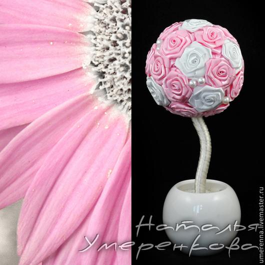 """Топиарии ручной работы. Ярмарка Мастеров - ручная работа. Купить Топиарий """"Элара"""". Handmade. Розовый, цветы из лент"""