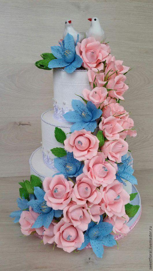 """Букеты ручной работы. Ярмарка Мастеров - ручная работа. Купить Конфетный торт с сюрпризом """"Воздушный"""". Handmade. Разноцветный, подарок на юбилей"""