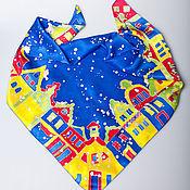 """Аксессуары handmade. Livemaster - original item Батик шелковый платок """"Яркий зимний город"""". Handmade."""