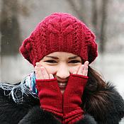Аксессуары ручной работы. Ярмарка Мастеров - ручная работа Митенки перчатки женские вязаные бордовые (красный, малиновый). Handmade.