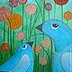 Животные ручной работы. Ярмарка Мастеров - ручная работа. Купить Картина Синие  птички цветы   в  траве  35х45. Handmade. Одуванчики