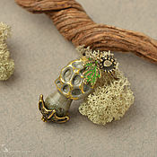 Украшения handmade. Livemaster - original item Golden Morel mushroom pendant brass lampwork. Handmade.
